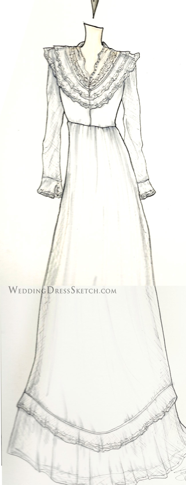 Vintage Wedding Gown Illustration