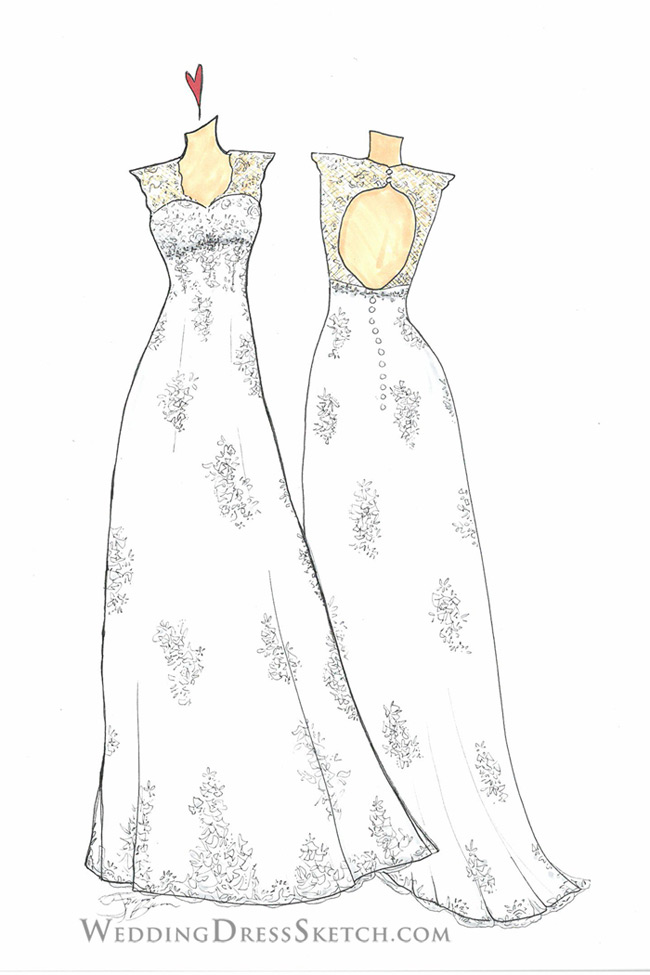Custom Dress Sketch front and back