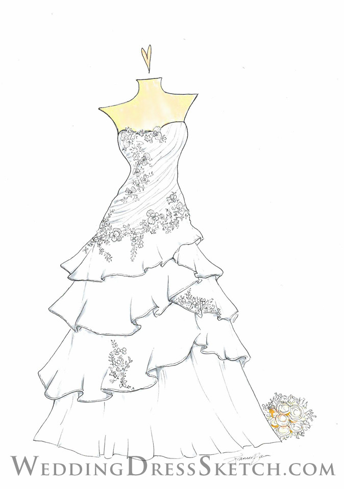 Floral Wedding Dress Sketch