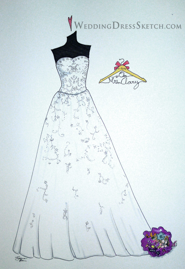 bride sketch with hanger and bouquet