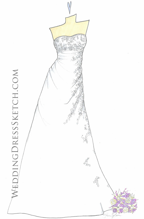 white wedding gown drawing