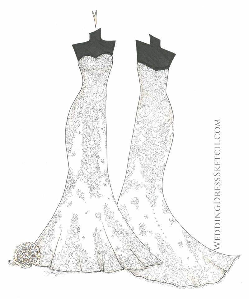 front and back wedding gown art