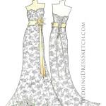 wedding dress gold ribbons