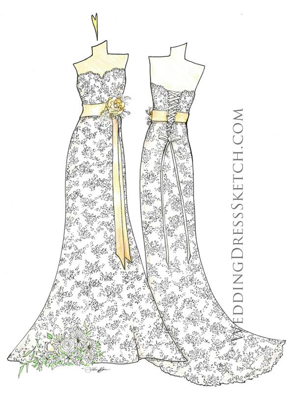 wedding dress gold ribbons