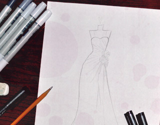 how to order wedding dress sketch